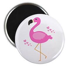 Pink Flamingo Hearts Magnets