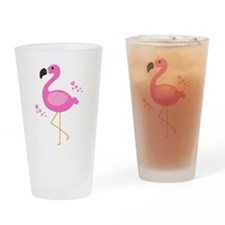 Pink Flamingo Hearts Drinking Glass