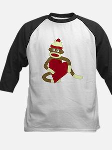 Sock Monkey Love Heart Kids Baseball Jersey