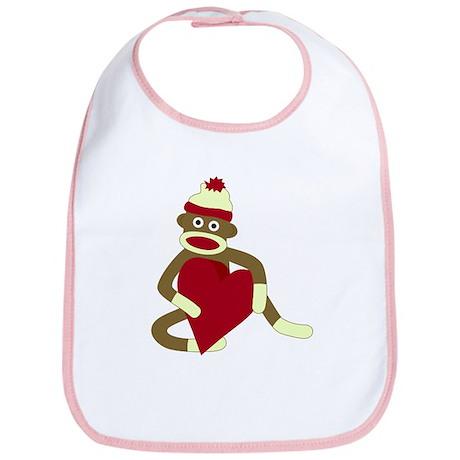 Sock Monkey Love Heart Baby Bib