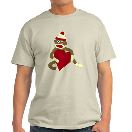 Sock Monkey Love Heart Light T-Shirt