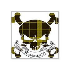"""Raeburn Tartan Skull Square Sticker 3"""" x 3"""""""