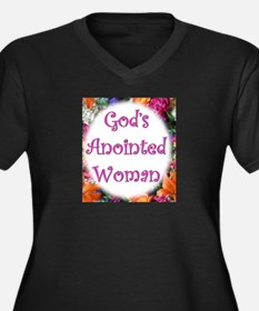 Gods anointed Women's Plus Size V-Neck Dark T-Shir