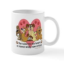 The Road To My Heart Dog Paw Prints Mug