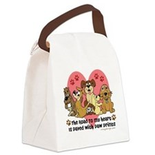 The Road To My Heart Dog Paw Prin Canvas Lunch Bag