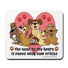 The Road To My Heart Dog Paw Prints Mousepad