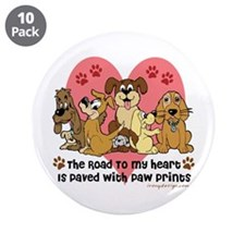 """The Road To My Heart Dog Paw 3.5"""" Button (10 pack)"""