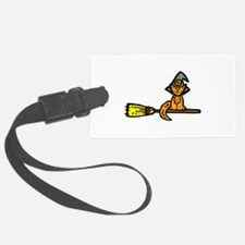 Orange cat on a broom Luggage Tag