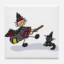 Stick Figure Witch with Cute Cat.png Tile Coaster