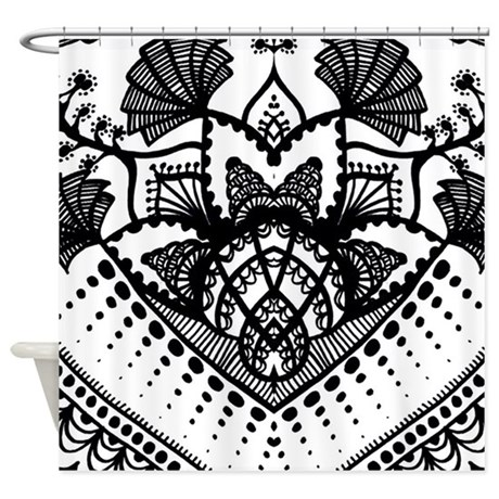 Black And White Paisley Flower Shower Curtain By Listing Store 68870216