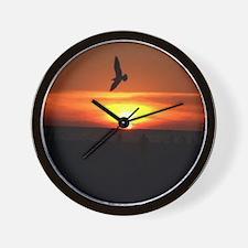 Sunset Seagull Wall Clock