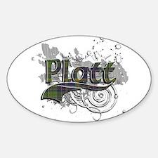 Platt Tartan Grunge Sticker (Oval)