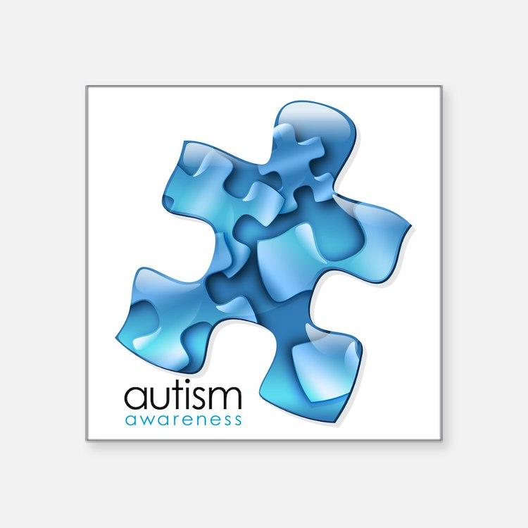 """Cute Autism puzzle piece Square Sticker 3"""" x 3"""""""