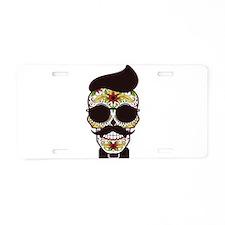 Sugar Skull 3 Aluminum License Plate