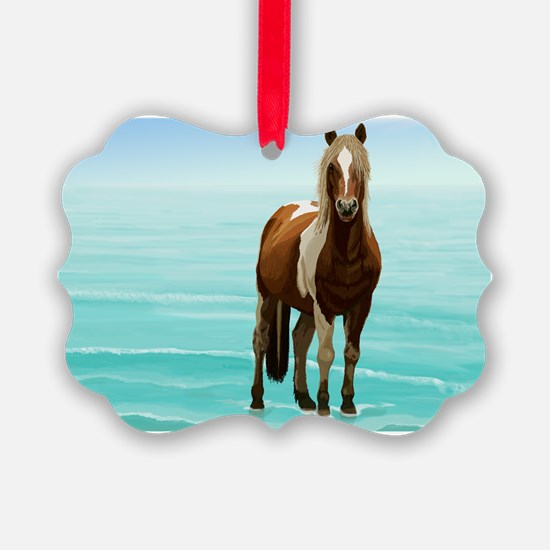 Cute White horse Ornament