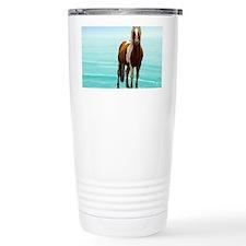 Cute White horse Travel Mug