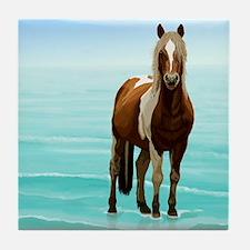 Cute White horse Tile Coaster