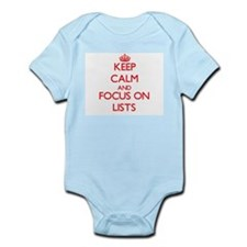 Keep Calm and focus on Lists Body Suit