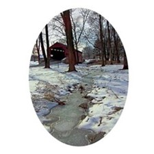 Covered Bridge Christmas Ornament (oval)