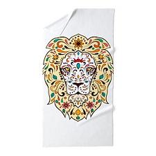 Lion Sugar Skull Design Beach Towel