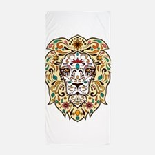 Lion Sugar Skull Design Beach Towel