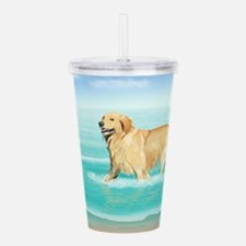 Unique Puppy at the sea Acrylic Double-wall Tumbler