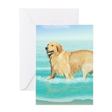 Golden Retriever at the Beach Greeting Cards