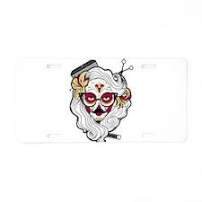 Hairdresser Sugar Skull Aluminum License Plate
