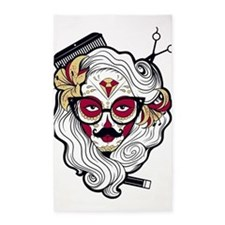 Hairdresser Sugar Skull 3'x5' Area Rug
