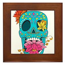 Flowered Sugar Skull Framed Tile