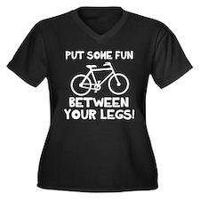 Bike between Women's Plus Size V-Neck Dark T-Shirt