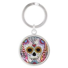 day of the dead 1 Round Keychain