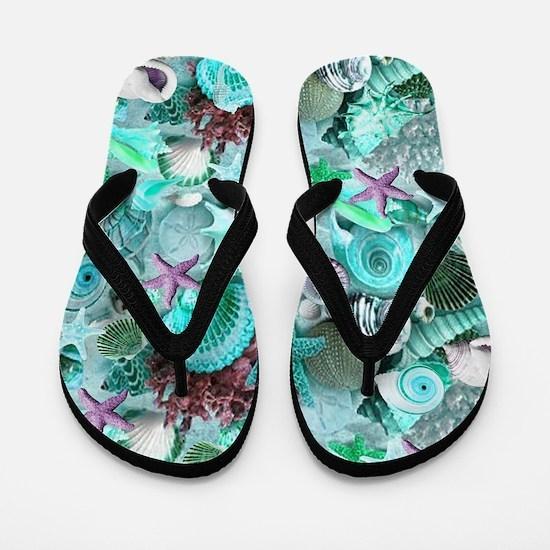 Green Seashells And starfish Flip Flops