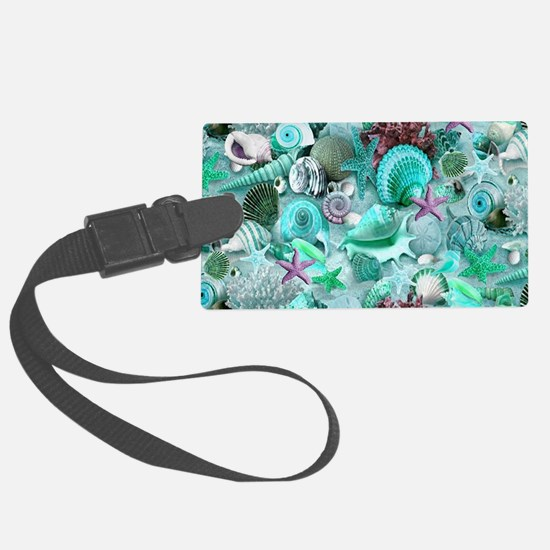Green Seashells And starfish Luggage Tag