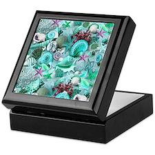 Green Seashells And starfish Keepsake Box