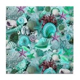 Purple seashells and starfish Drink Coasters
