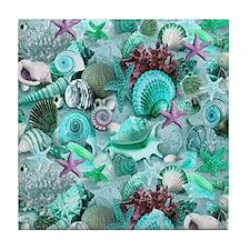 Green Seashells And starfish Tile Coaster