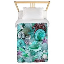 Green Seashells And starfish Twin Duvet