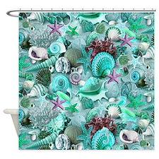 Green Seashells And starfish Shower Curtain