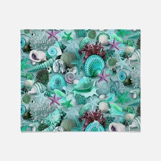 Green Seashells And starfish Throw Blanket