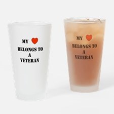 MyHeart Belongs To A Veteran Drinking Glass