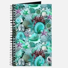 Green Seashells And starfish Journal