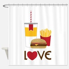 Love Fast Food Shower Curtain