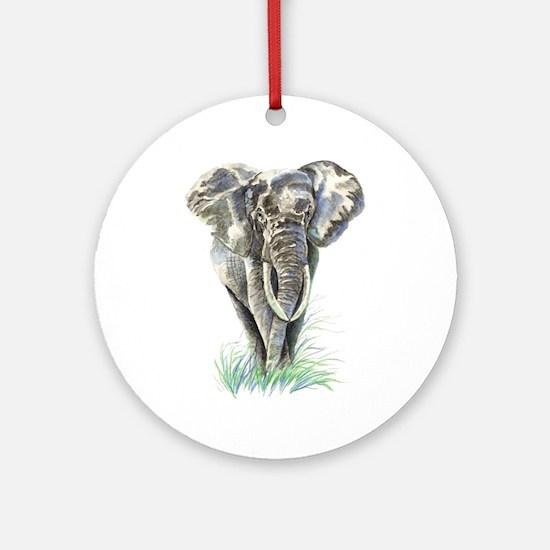 Watercolor Elephant Animal Art Ornament (round)