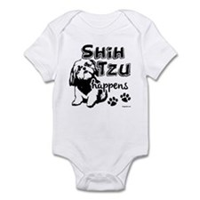shih tzu happens Infant Bodysuit