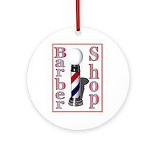 Barber Shop Logo Ornament (Round)