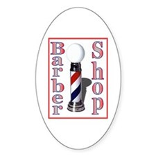 Barber Shop Logo Oval Decal