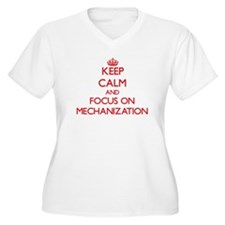 Keep Calm and focus on Mechanization Plus Size T-S
