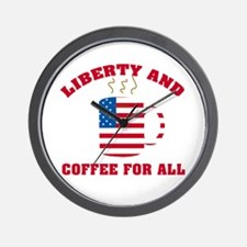 Liberty & Coffee For All Wall Clock
