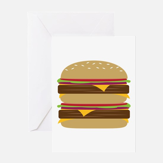 Double Burger Greeting Cards